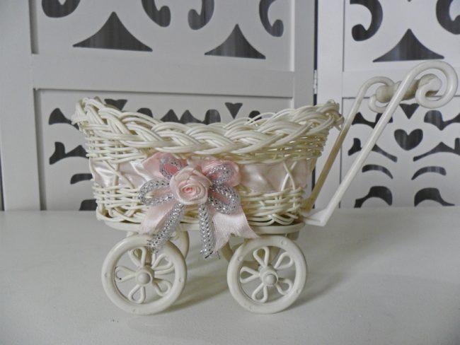 Carrinho de Bebê Fita Rosa