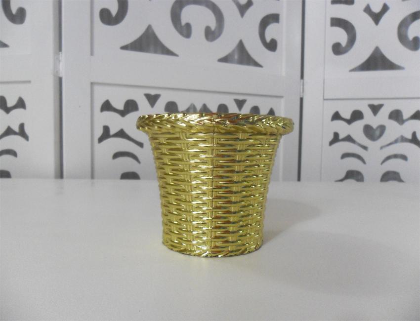 Locação de Vaso Cachepô Dourado Pequeno de Mesa