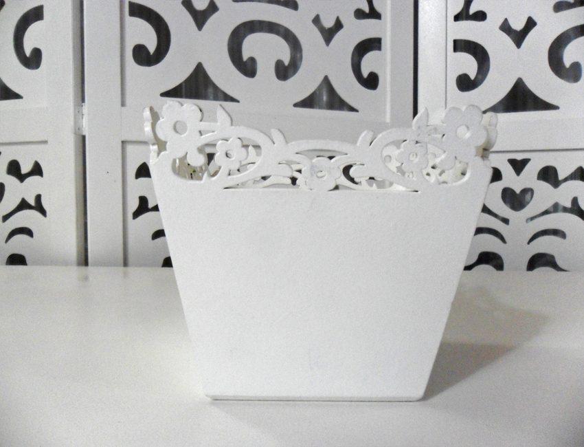 Locação de Vaso Cachepô Floral Quadrado Pequeno de Mesa