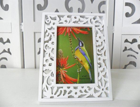 Locação Porta Retrato Floral de Mesa em Plástico