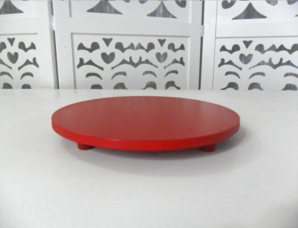 Locação de Suporte Liso Para Doces Tipo Bandeja Redonda Vermelho em Provençal