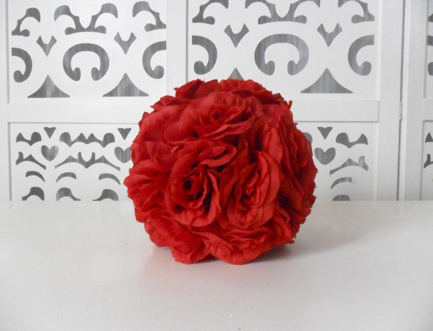 Locação de Bola de Flores Artificiais Vermelho