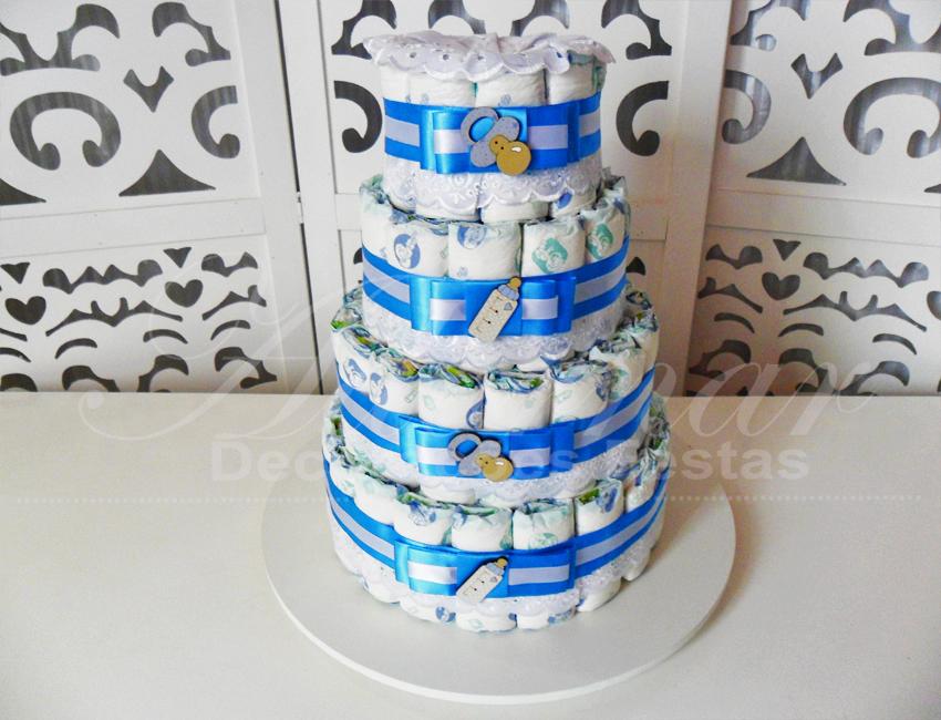 Locação de Bolo de Fraldas Chá de Bebê Azul e Branco Para Festas e Eventos