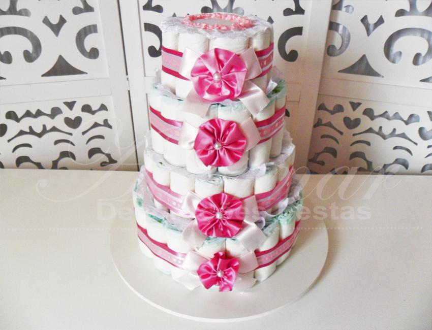 Locação de Bolo de Fraldas Chá de Bebê Rosa e Branco Para Festas e Eventos