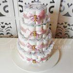 Locação de Bolo de Fraldas Chá de Bebê Rosa e Marrom Para Festas e Eventos