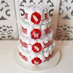 Locação de Bolo de Fraldas Chá de Bebê Vermelho e Branco Para Festas e Eventos