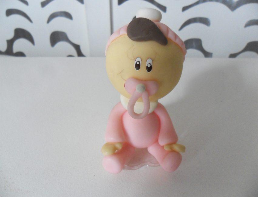 Locação de Topo de Bolo Menina Rosa em Biscuit