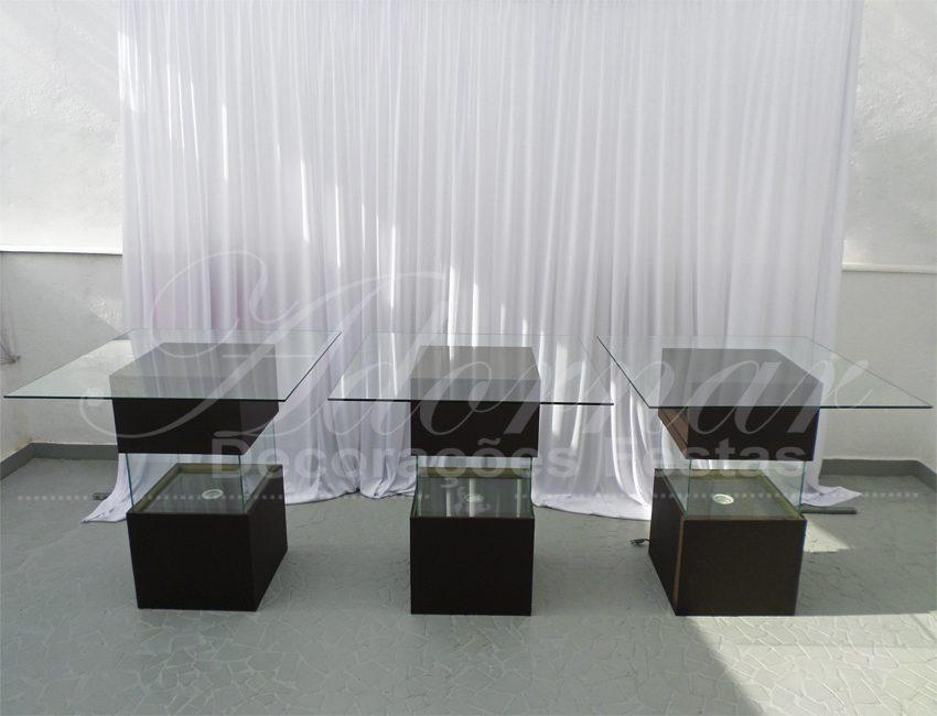 aluguel Mesas de Vidro Aquário Cubos Marrom Com Iluminação