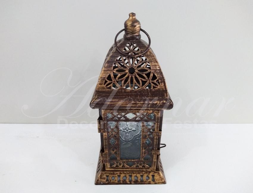 Locação de Gaiola Decorativa Pequena Quadrada de Ferro Ouro Velho