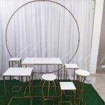 Aluguel Kit de Mesa Mini Table Com Arco Painel Redondo Para Decoração de Festa 1