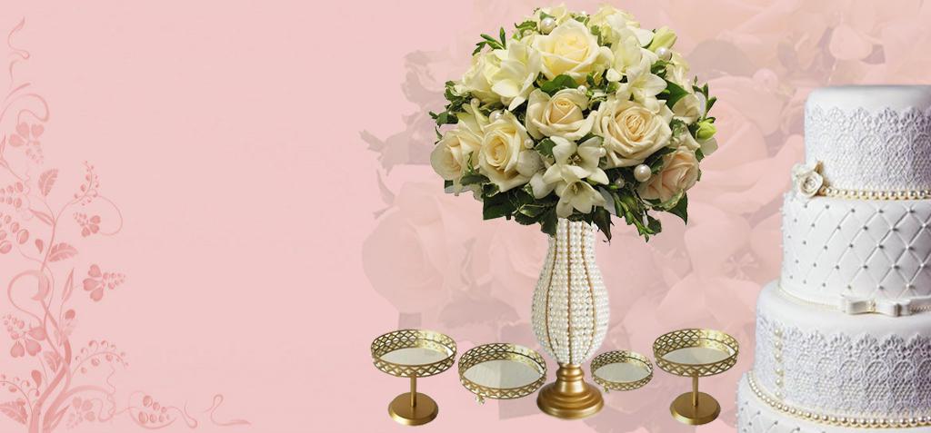 aluguel de arranjos de flores vasos perolados pedrarias bolo fake casamento decoração festa