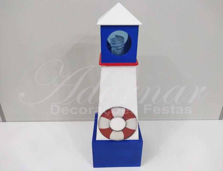 Locação de Luminária Farol Torre do Marinheiro Azul e Vermelho de Mesa