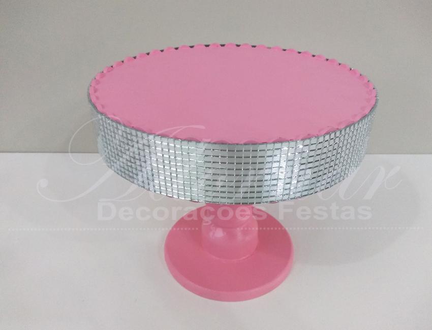 Locação de Boleira Porta Doces Espelhada Redonda em Rosa