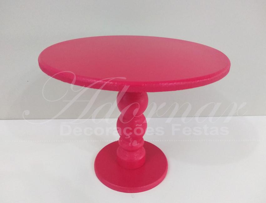 Locação de Boleira Porta Doces Média em Rosa Pink Com Pé Torneado