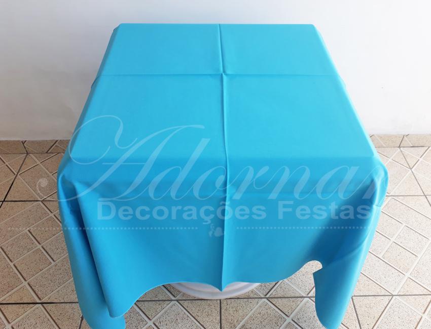Locação de Toalha em Azul Tiffany Para Mesa Quadrada