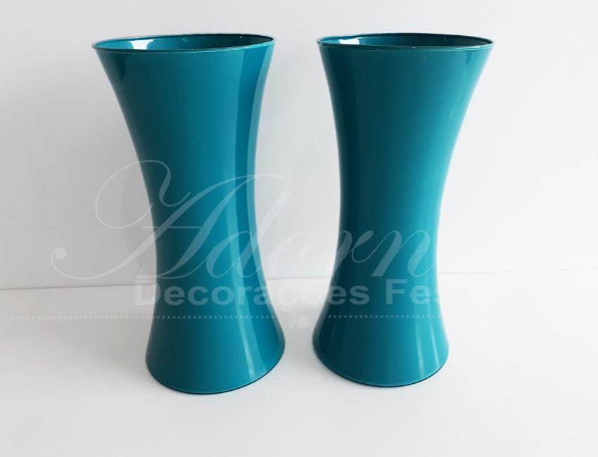 Par de Vaso de Vidro Azul Tiffany Grande