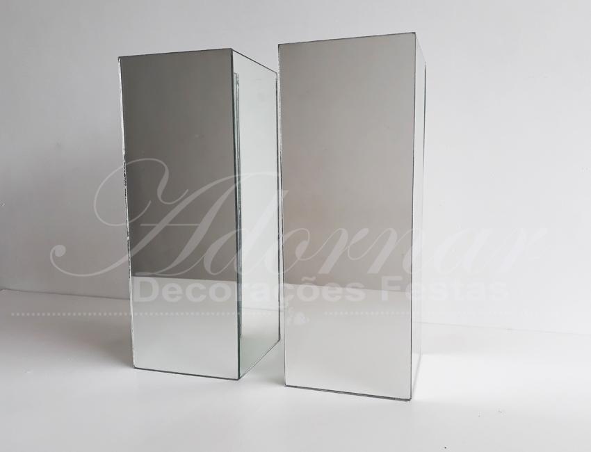 Locação Par de Vaso Espelhado Quadrado de Vidro