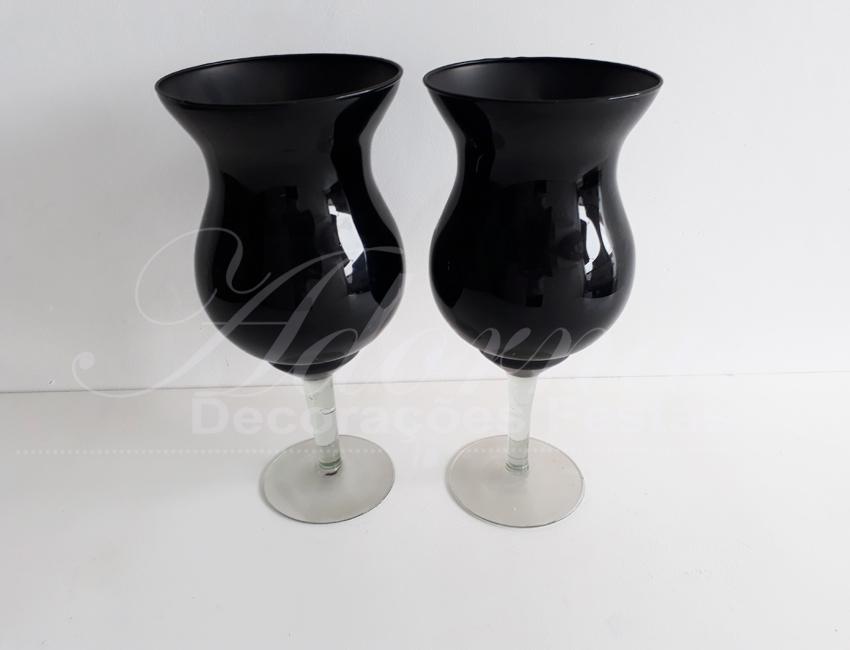 Locação Par de Vaso Taça de Vidro Napole Preto