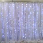 aluguel de painel de cortinas branco suporte duplo com led alugar painel de festas