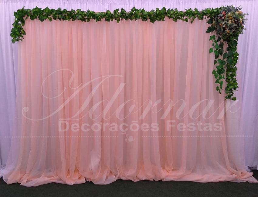 aluguel de painel de cortinas pêssego rosê gold para festas e eventos