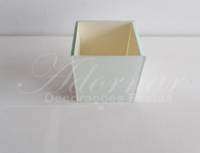 Locação Vaso Cachepô Quadrado Pequeno de Vidro em Branco