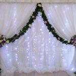 aluguel de painel de cortinas branco com led