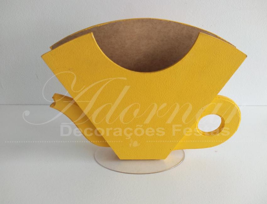 Locação de Porta Guardanapo Xícara em Amarelo de Mdf
